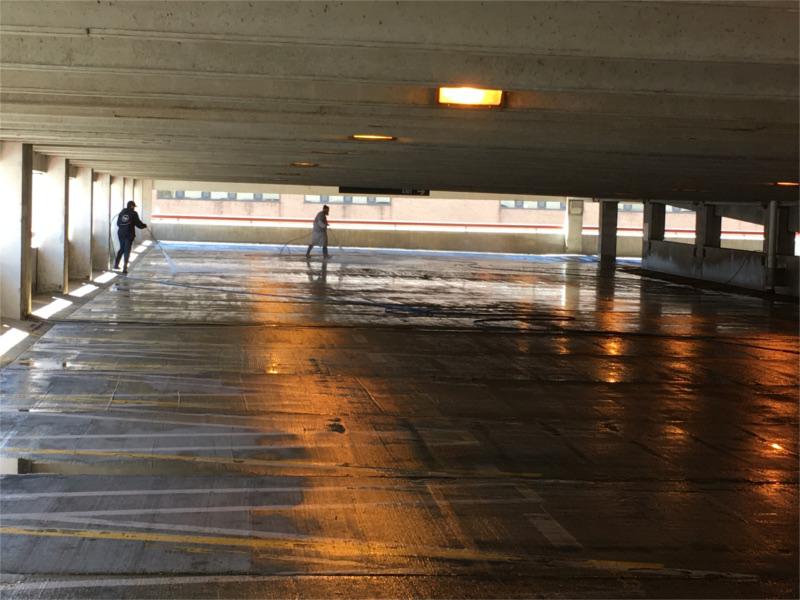 Parking Garage Being Power Washed